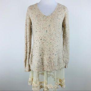 Altar'd State Soft Lace Hem Sweater Sz S/M